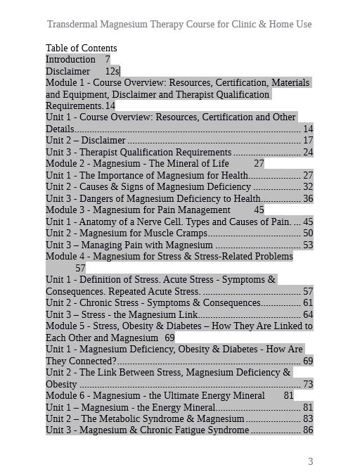 TMT Course - Table of Contents - 1